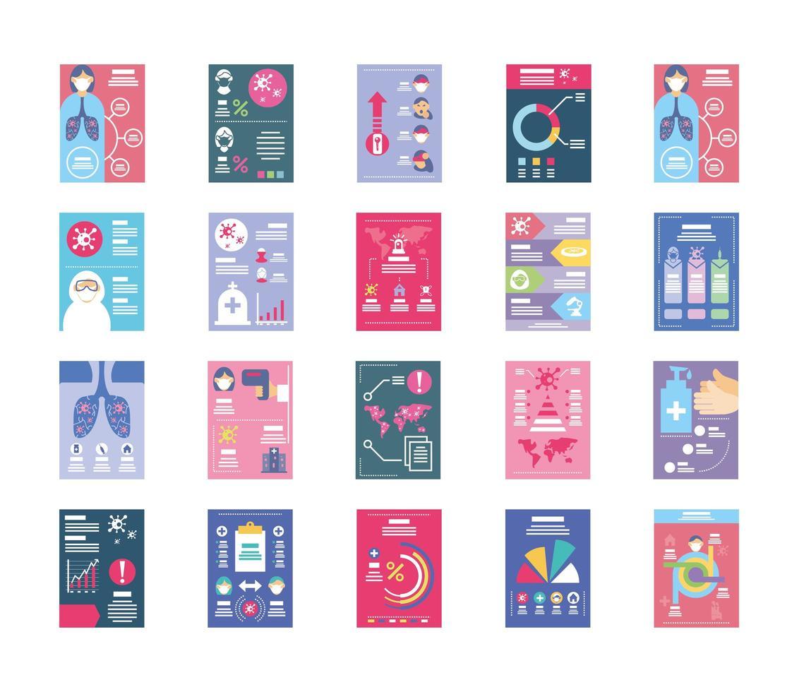 colección de iconos de infografías de salud vector