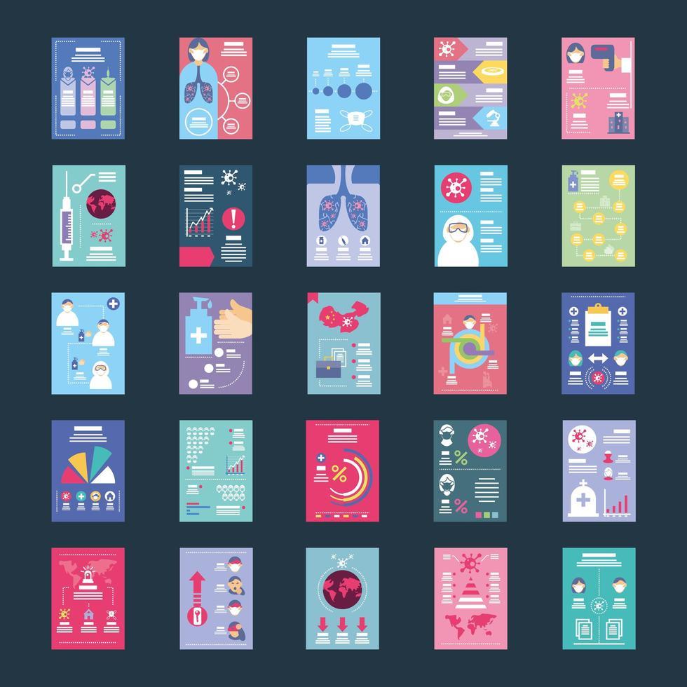 conjunto de iconos sobre infografías de salud vector