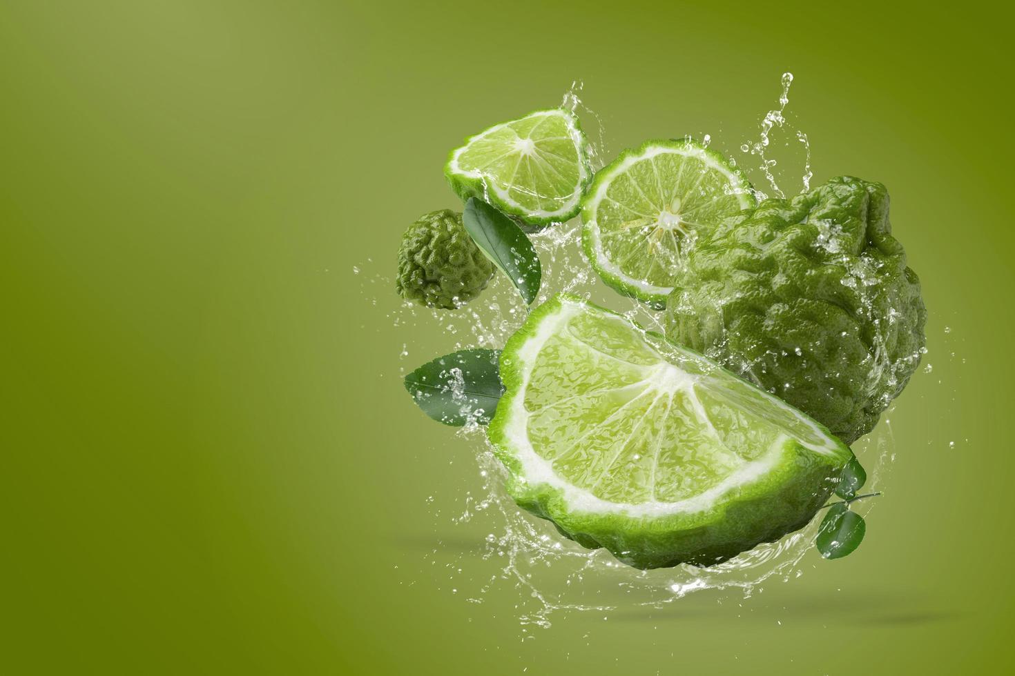 Water splash on bergamot fruit  photo
