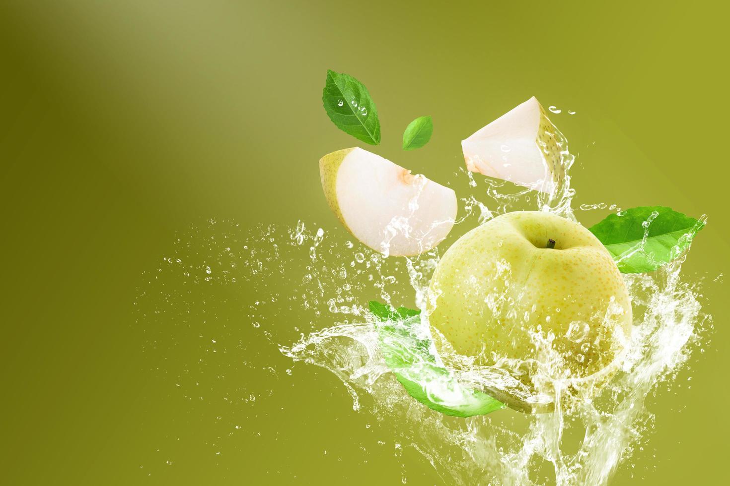 Water splashing on fresh Chinese pear  photo