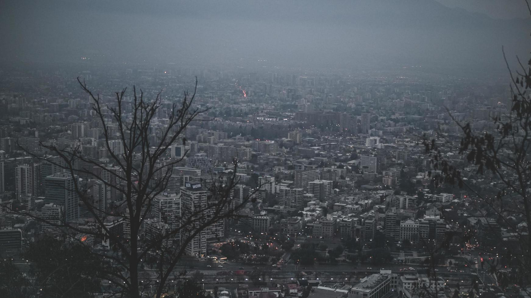 Aerial view of foggy city  photo