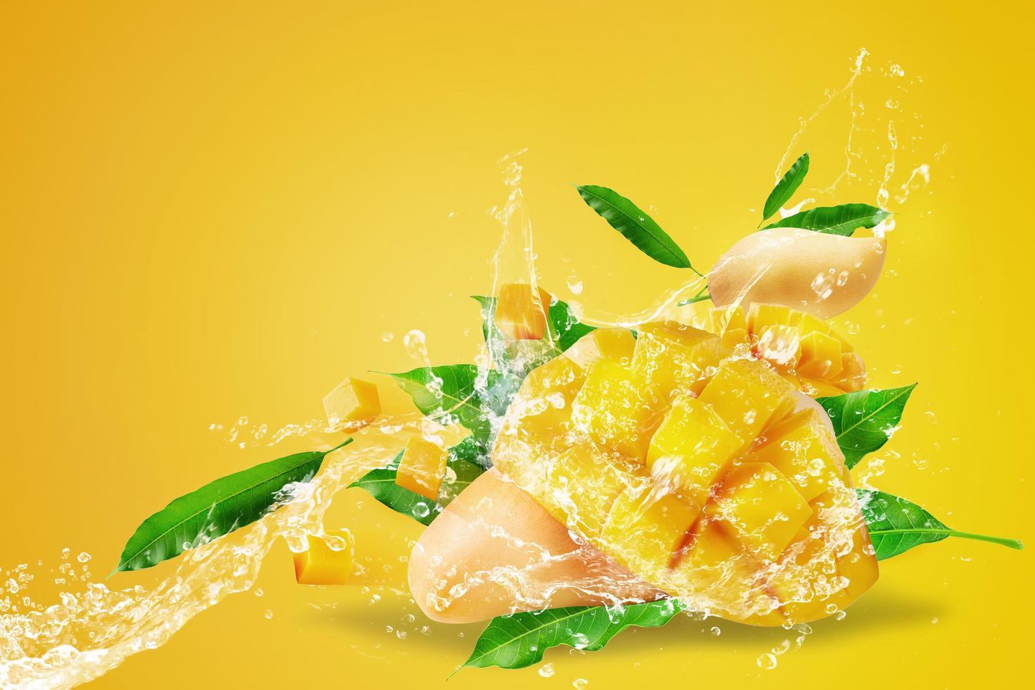Water splashing on fresh sliced mango fruit  photo