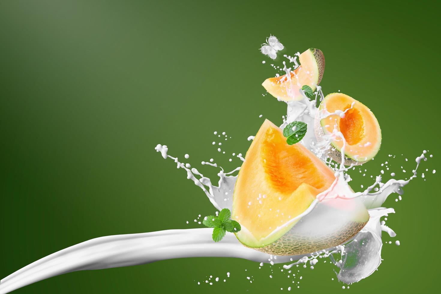Japanese melons and milk splashing photo