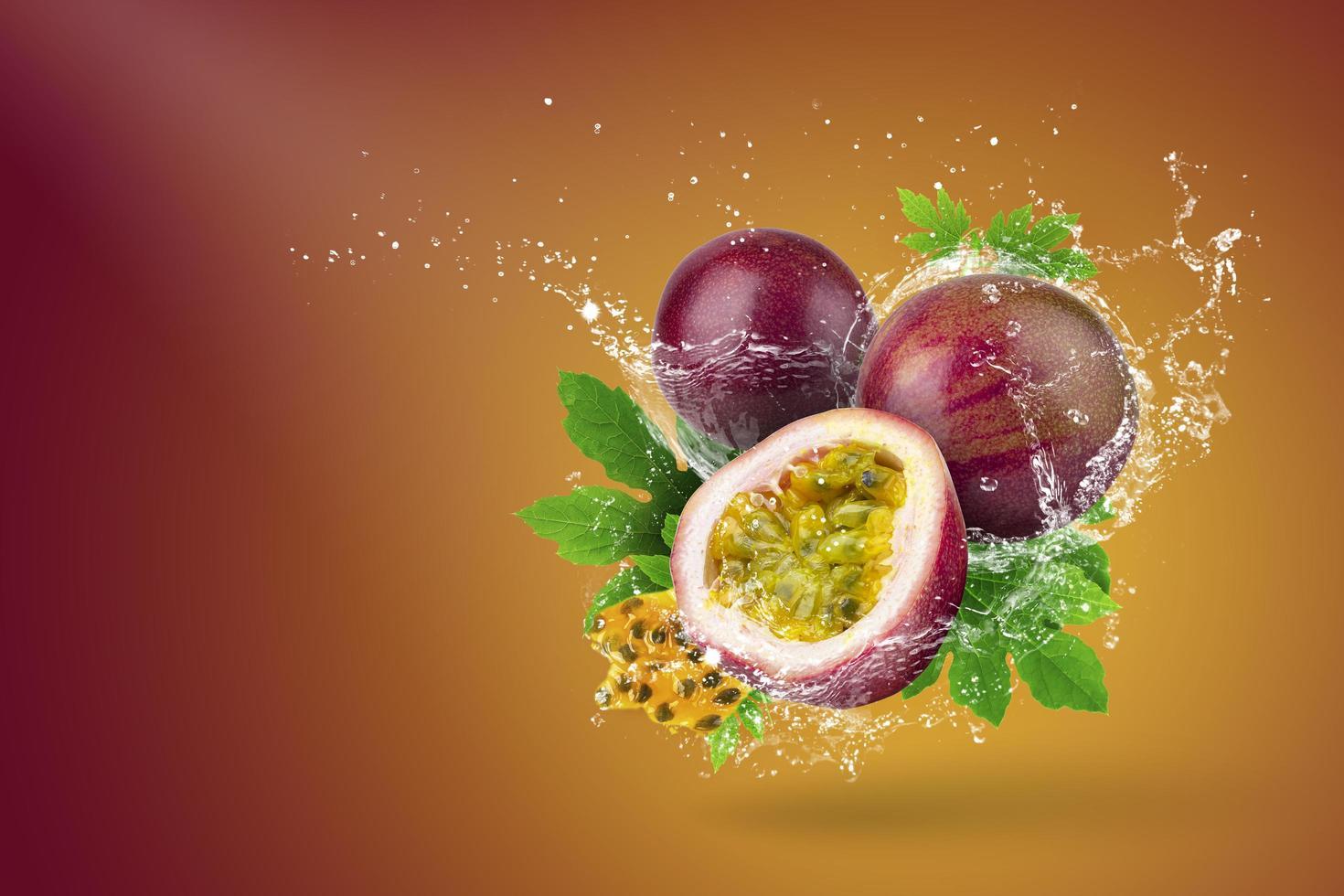 Water splashing on passion fruit  photo