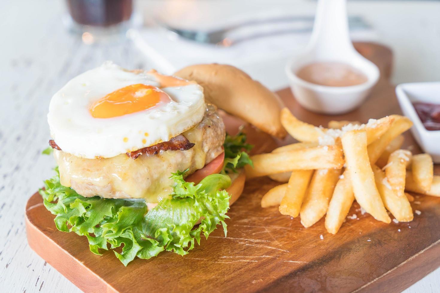 Cheeseburger and fries photo