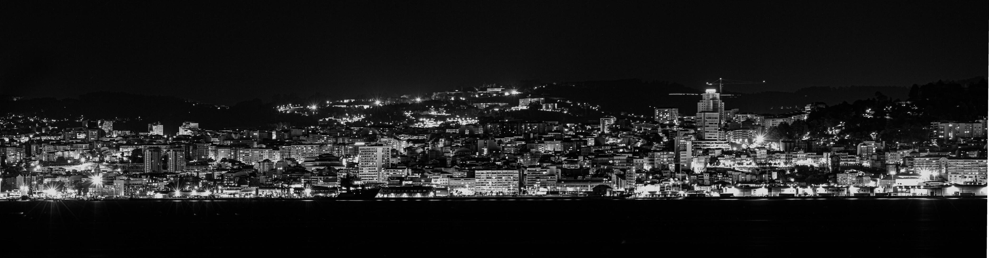 A black and white city  photo