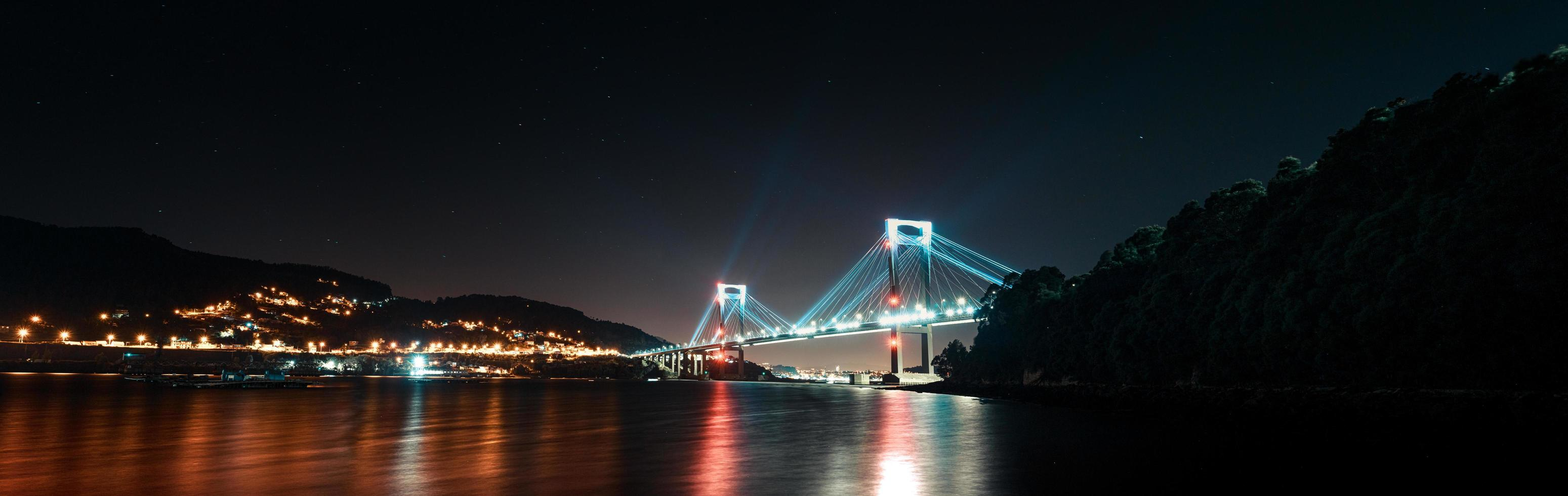 A super panoramic view of a bridge during night photo