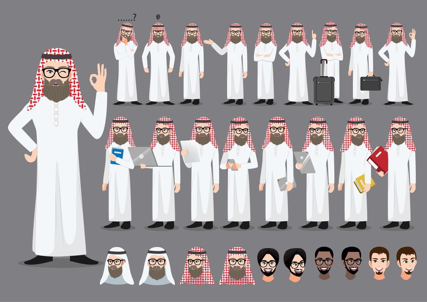 set di personaggi dei cartoni animati di uomo d & # 39; affari arabo saudita vettore