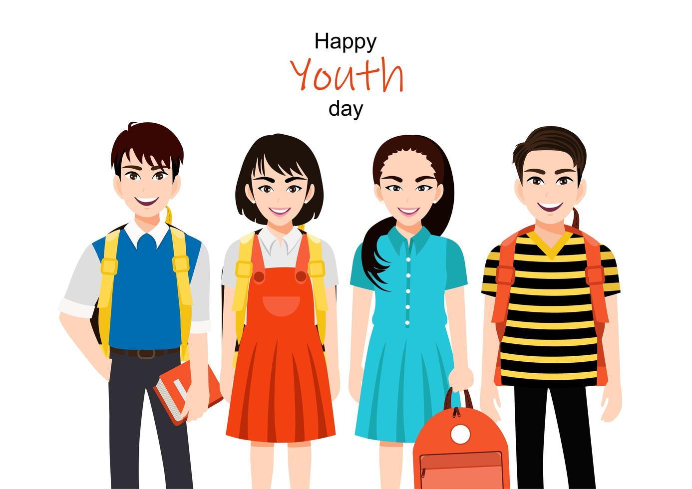 felice giornata della gioventù design con un gruppo di ragazze e ragazzi vettore