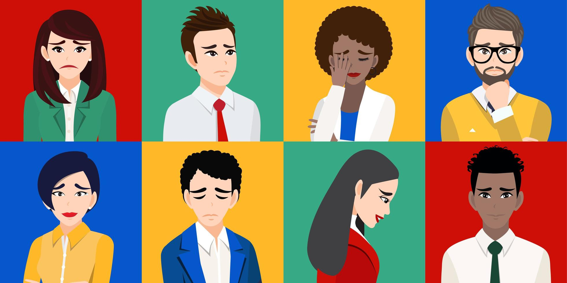 hombres y mujeres tristes o personas infelices vector