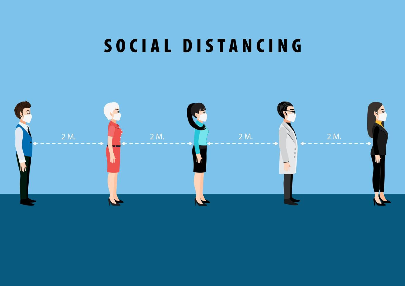 Cartoon character social distancing poster vector