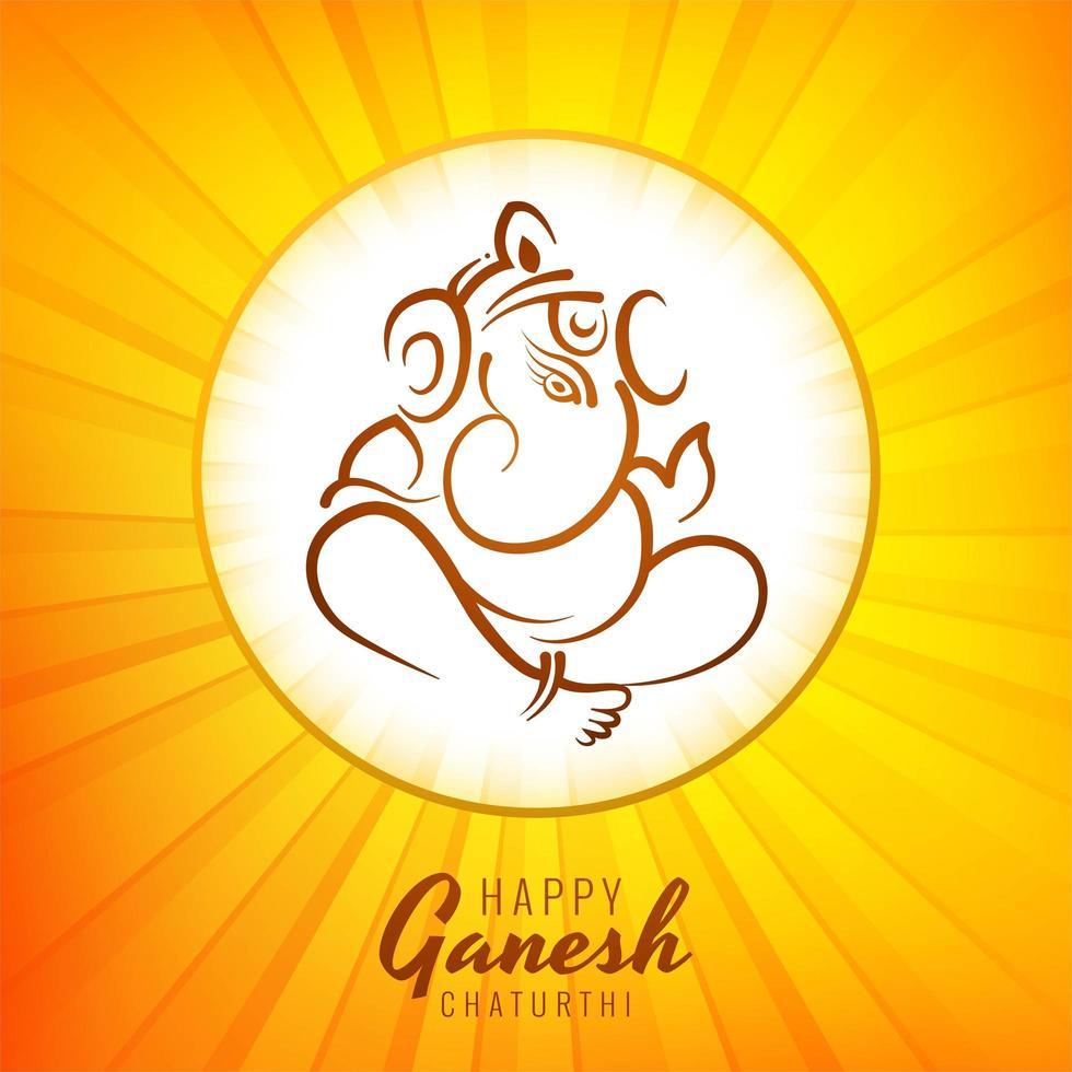 felice ganesh chaturthi festival gradiente burst card vettore