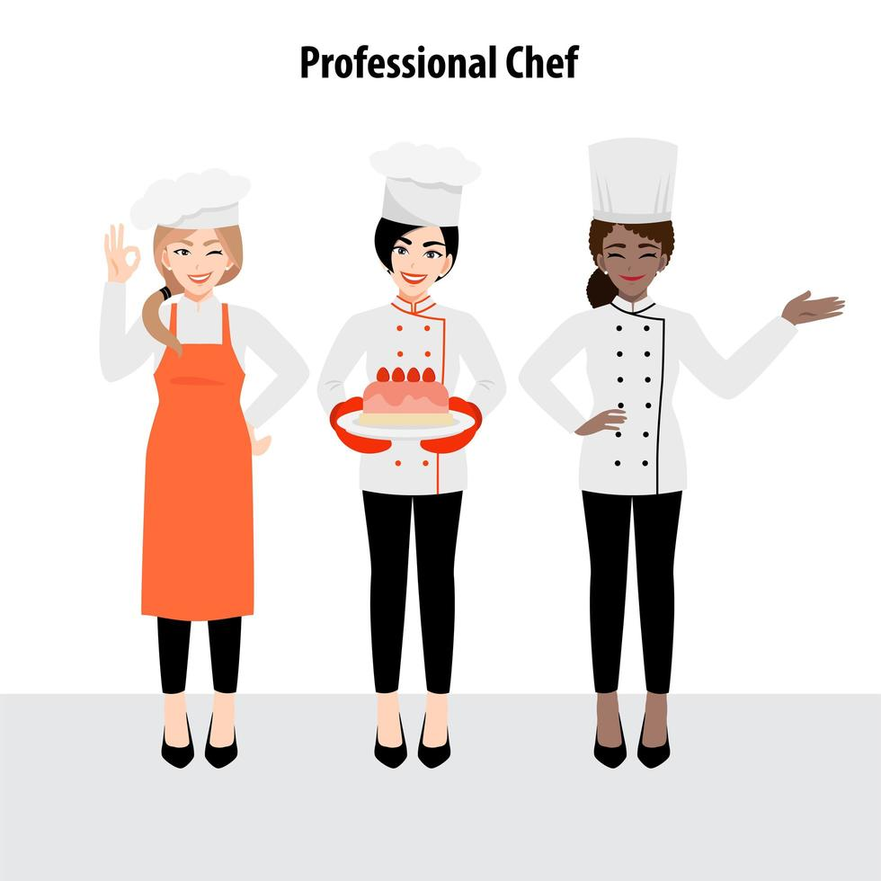 Cartoon character set with professional chef in uniform vector