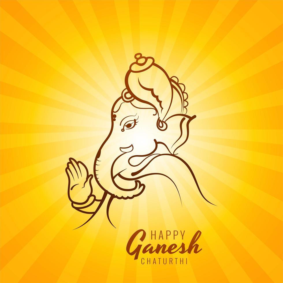 disegno di carta ganesh chaturthi disegnato a mano vettore