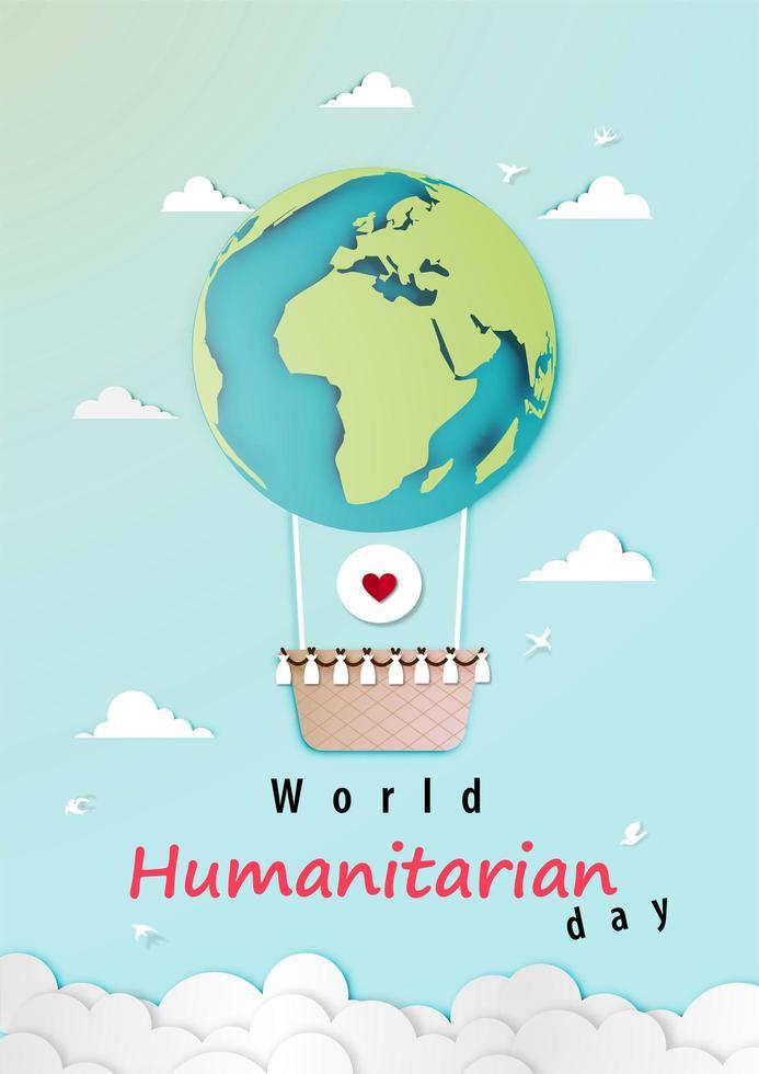 diseño del día mundial humanitario del arte en papel con globo plane vector