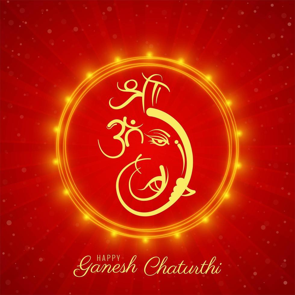 tarjeta cuadrada roja y dorada del festival de ganesh chaturthi vector