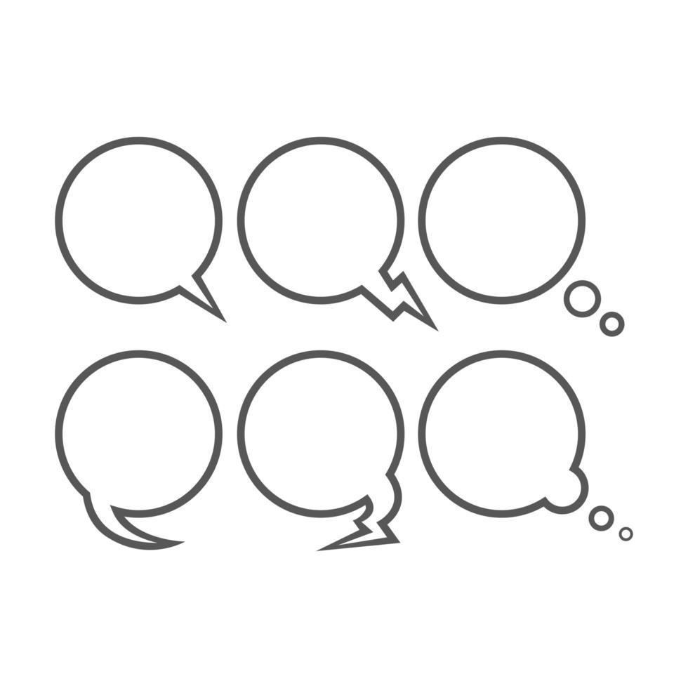 conjunto de contorno de burbujas de discurso vector