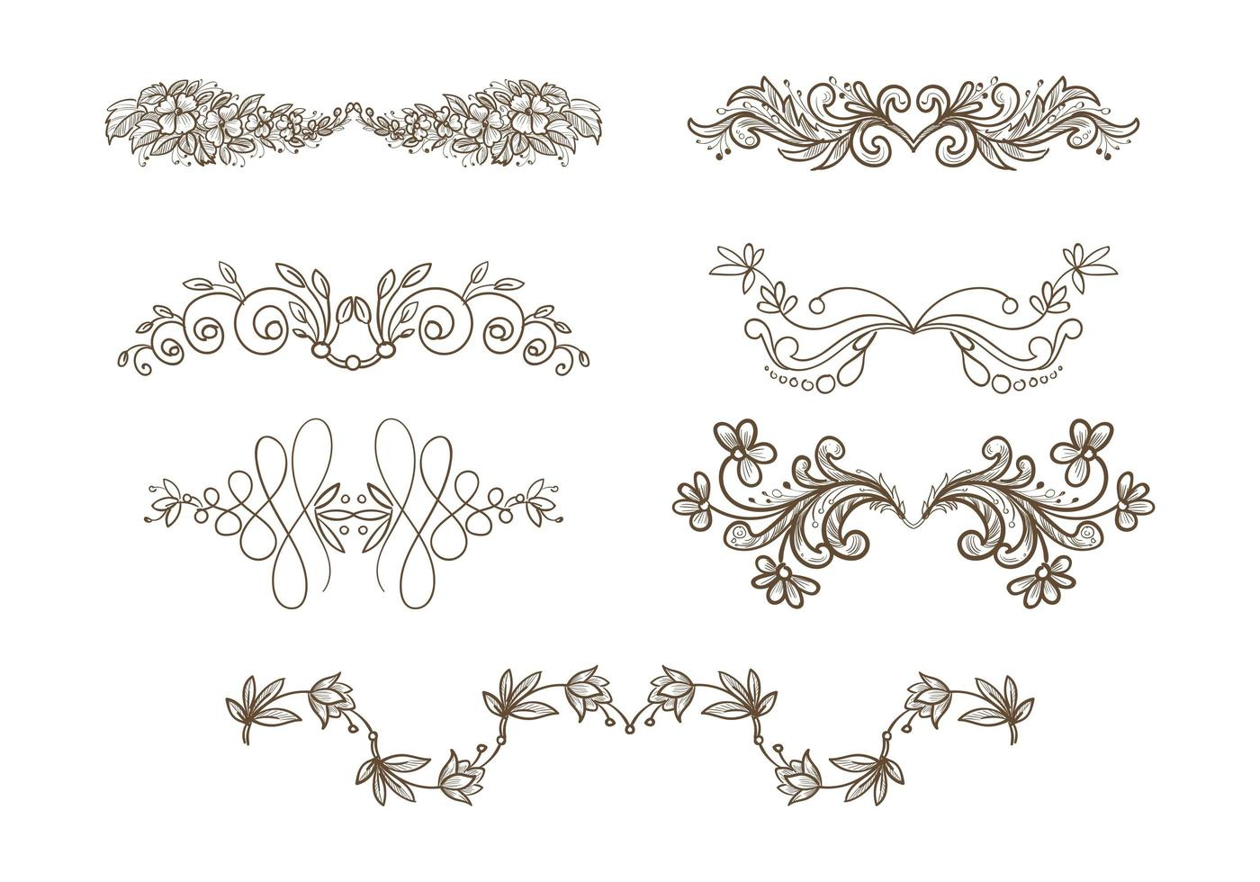 hermoso adorno de boda dibujado a mano diseño de conjunto floral vector