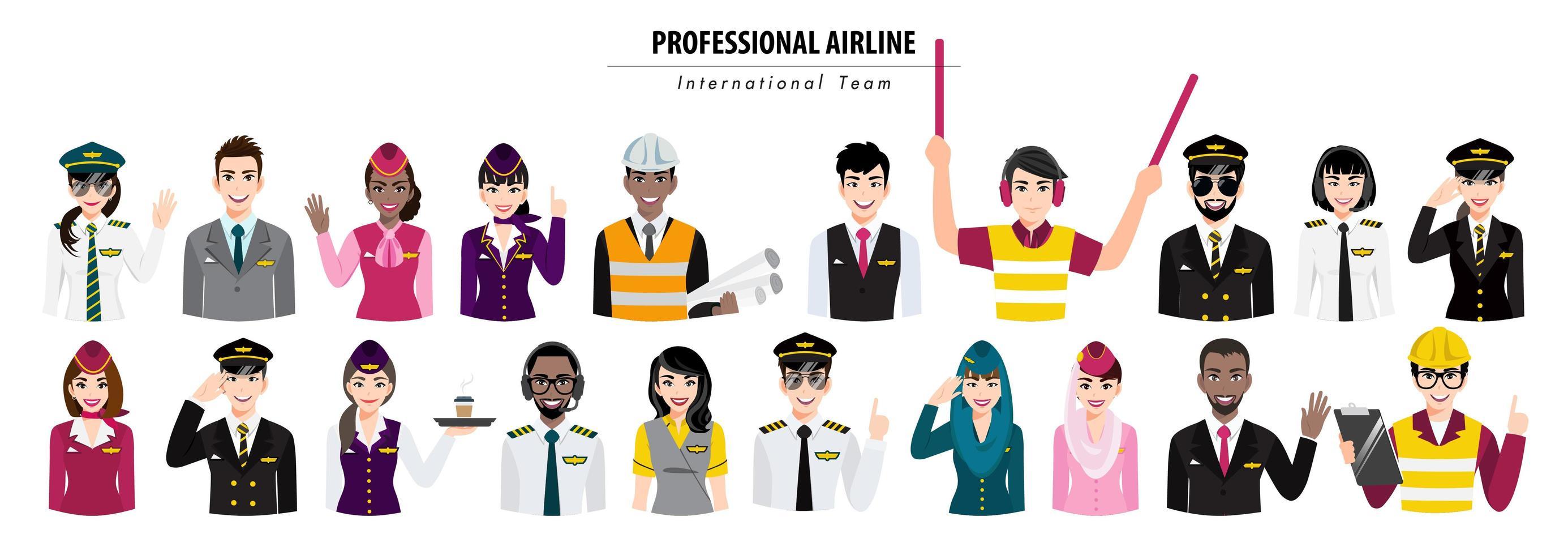 Trabajadores de aerolíneas profesionales de medio cuerpo y banner de tripulación. vector