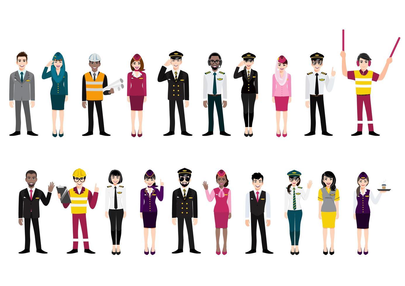 grupo de tripulantes del aeropuerto y trabajadores de aerolíneas internacionales vector