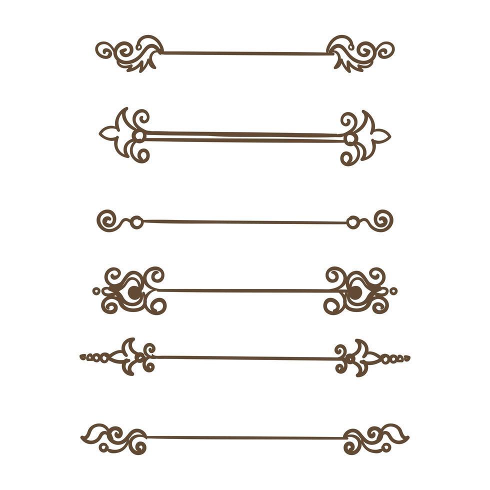 divisores de damasco dibujados a mano vector