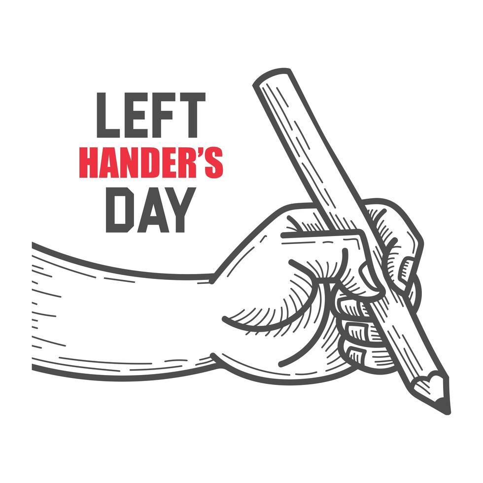 diseño de cartel del día de los zurdos con lápiz de mano vector
