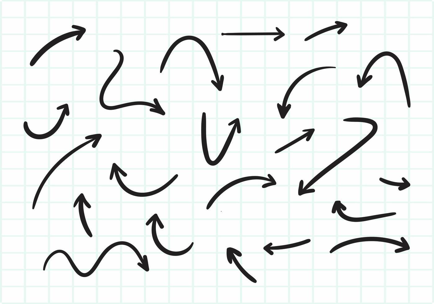 conjunto de flechas dibujadas a mano vector