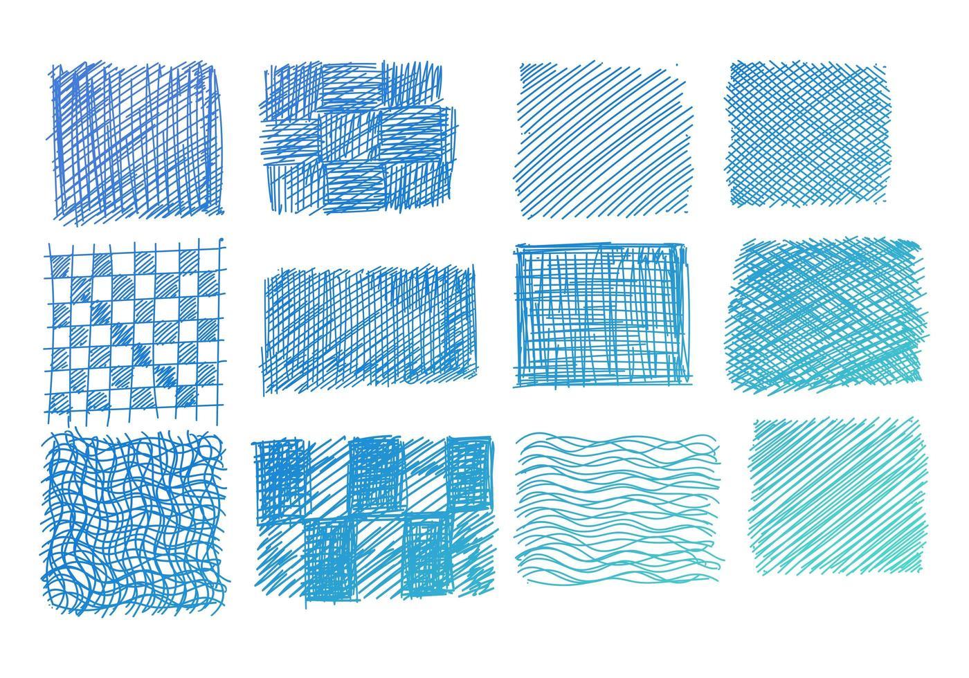 conjunto de garabatos de tono azul dibujados a mano vector