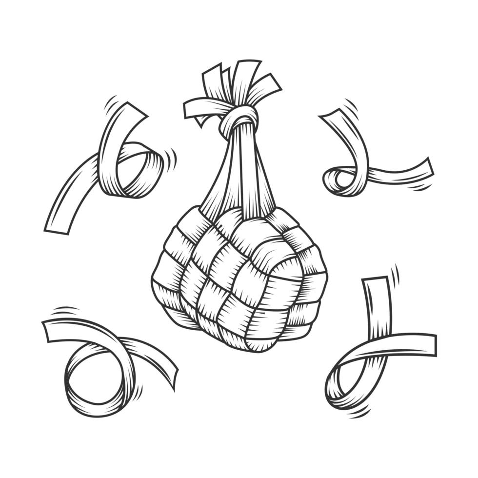 Line drawn traditional ketupat composition vector