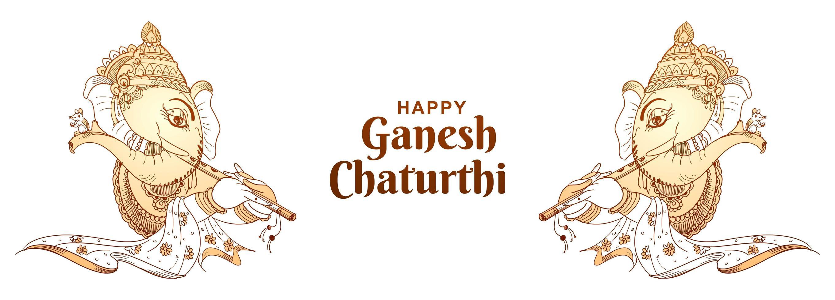 banner de festival indio de ganesh chaturthi de contorno monocrom vector