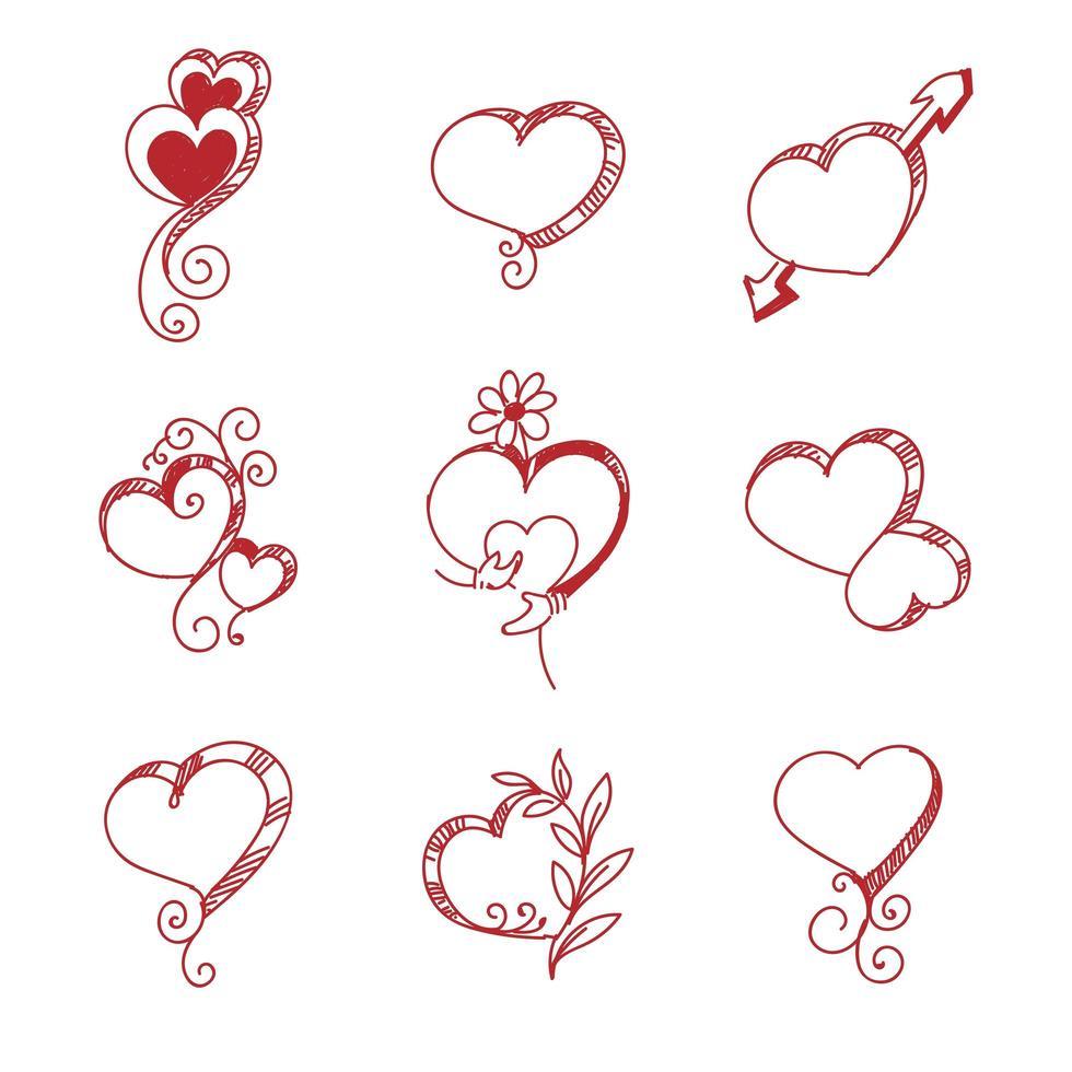 conjunto de bocetos de corazón rojo vector
