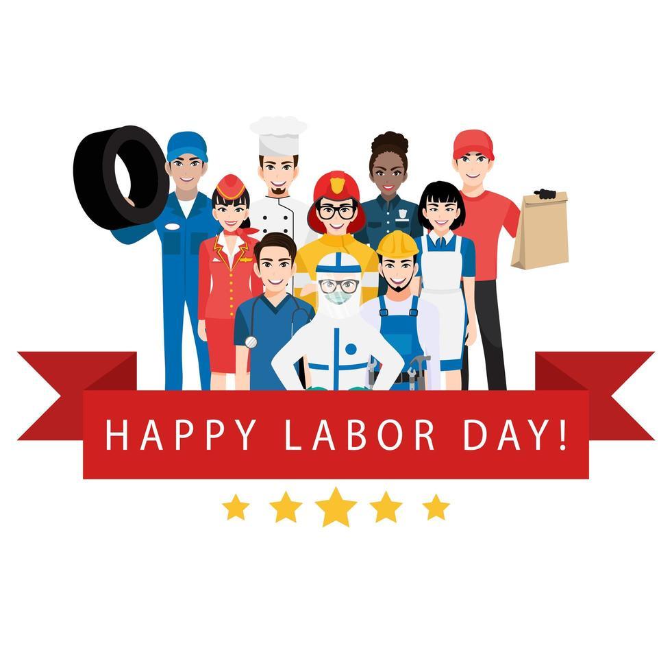 Tarjeta del día del trabajo con trabajadores y bandera roja. vector