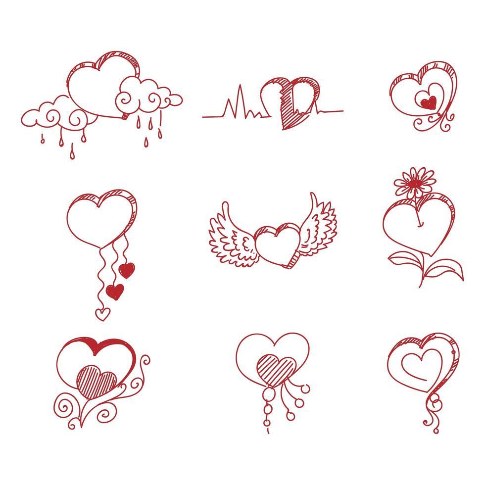 corazones rojos creativos dibujados a mano vector