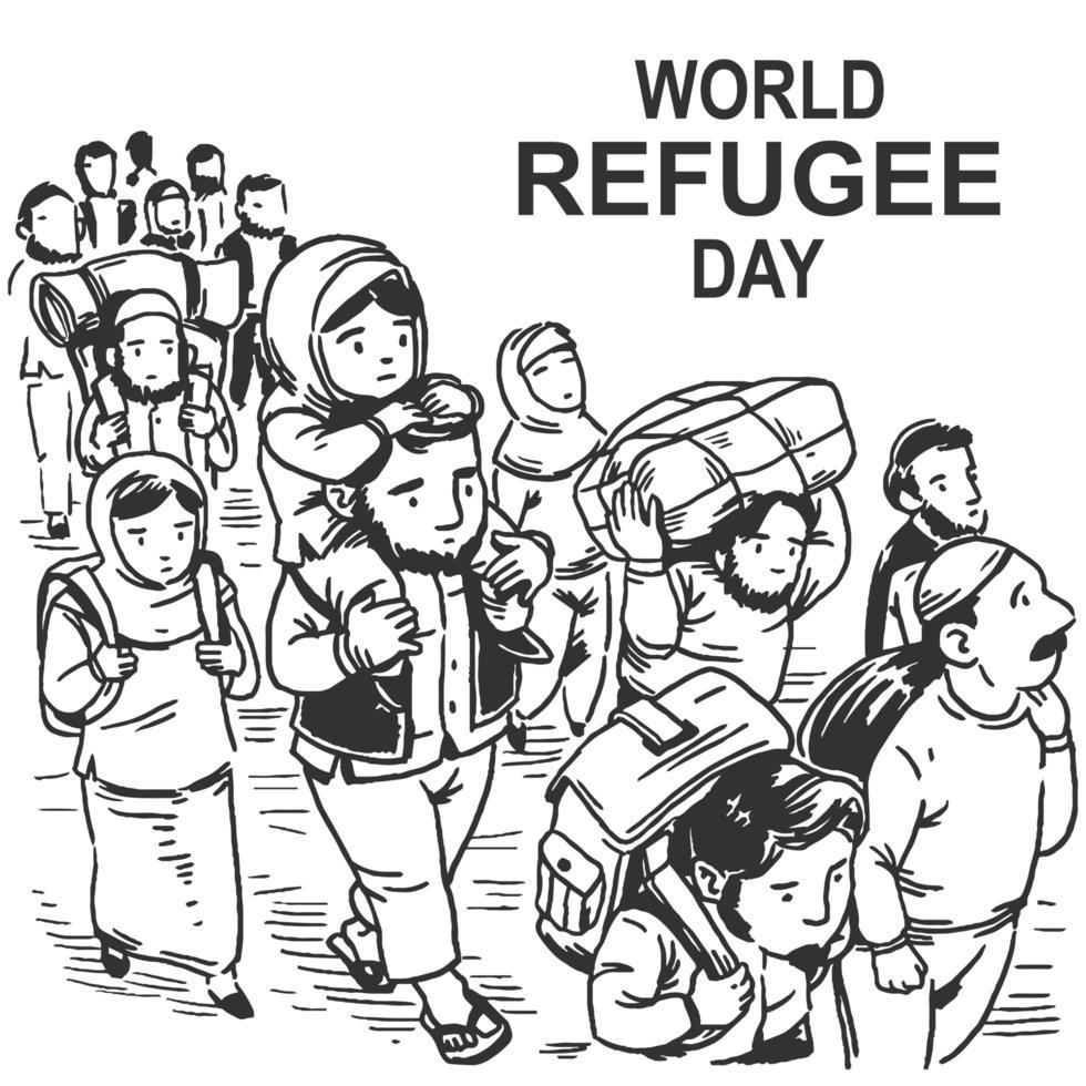 dibujado a mano diseño del día mundial de los refugiados con caminatas vector