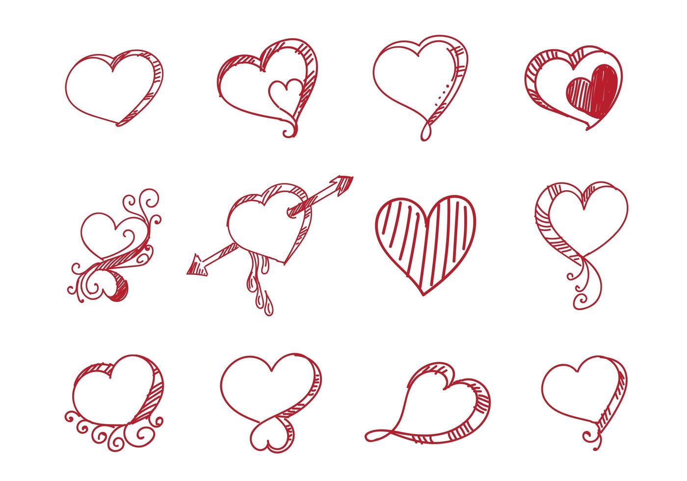 conjunto de diferentes corazones rojos creativos vector
