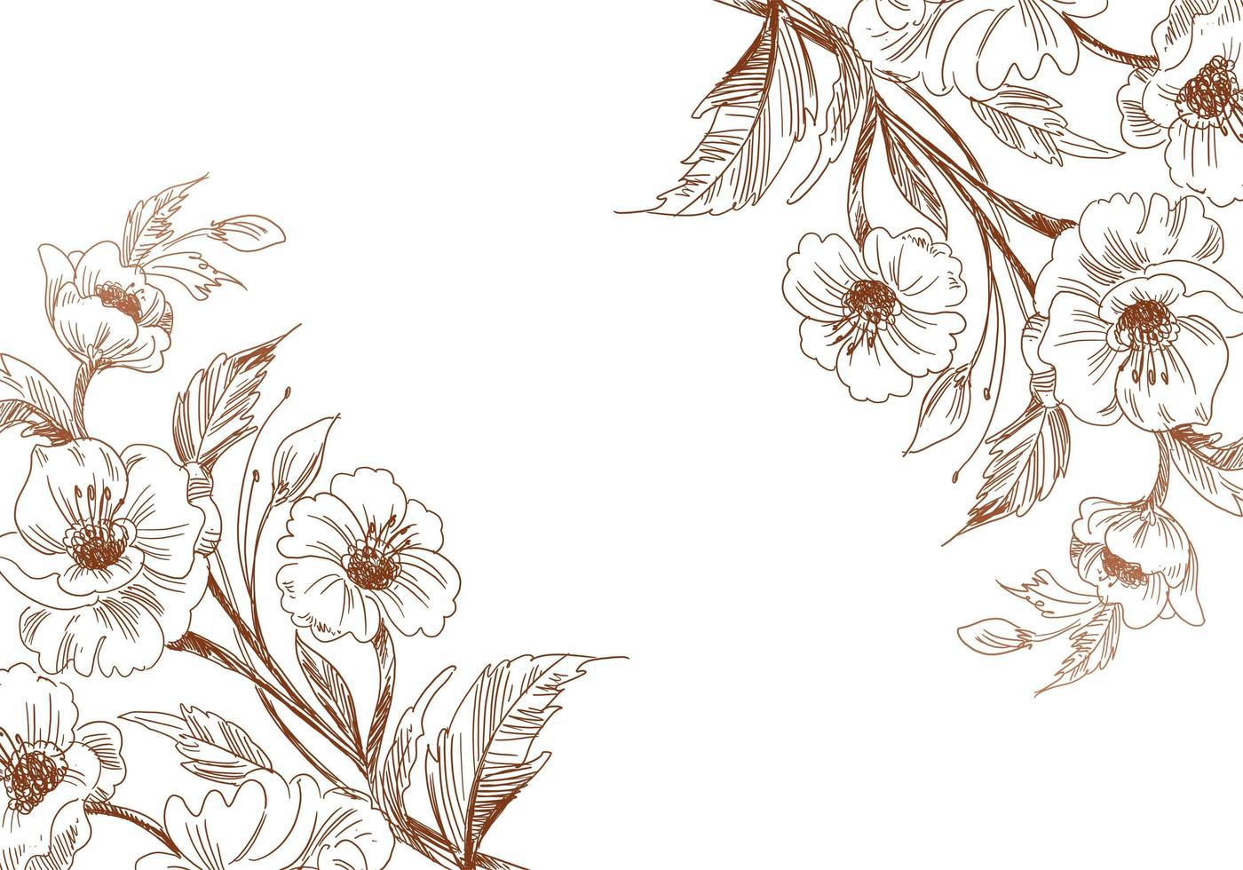 esquinas de flores de boda boceto artístico vintage vector