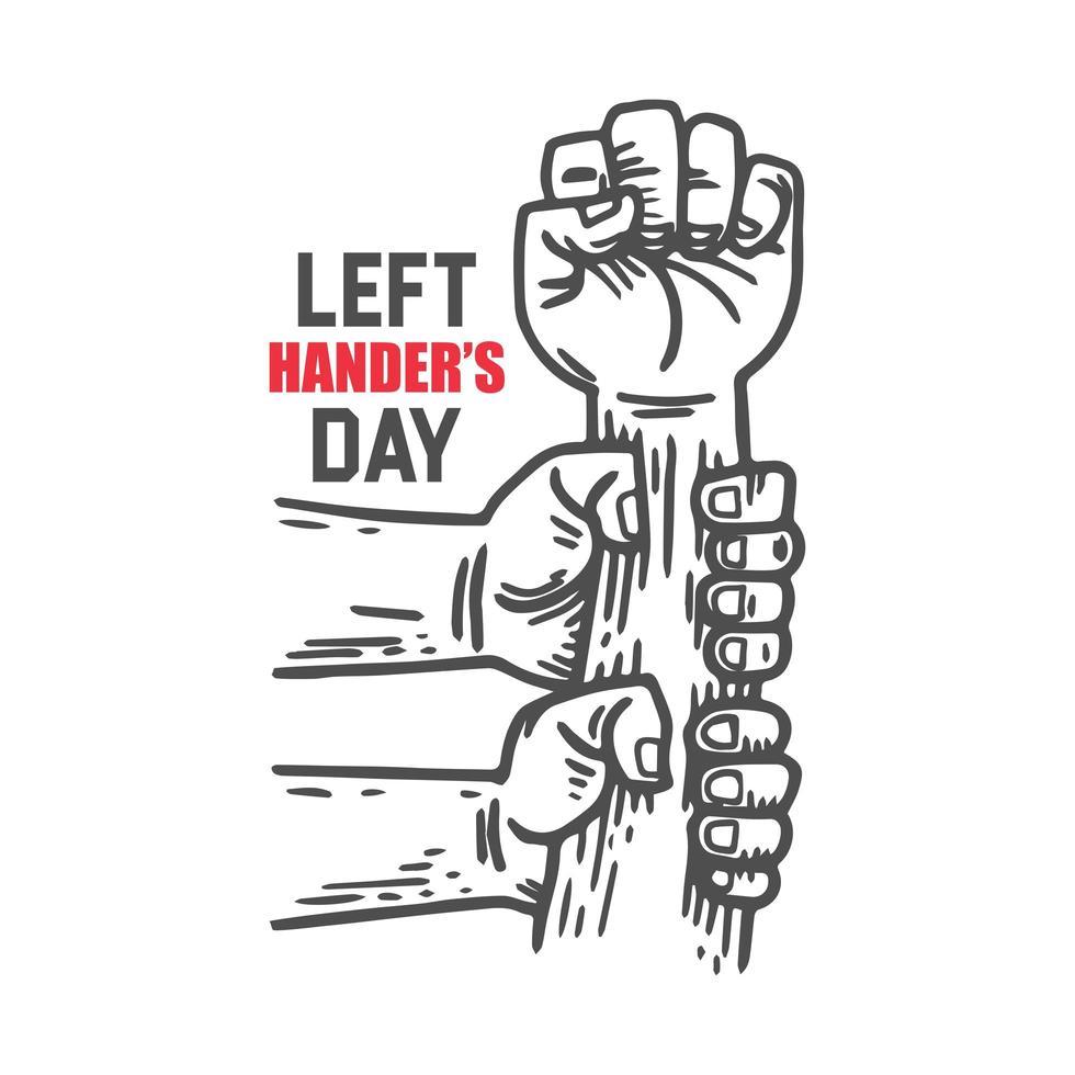 diseño del día de los zurdos con manos sosteniendo el puño levantado vector