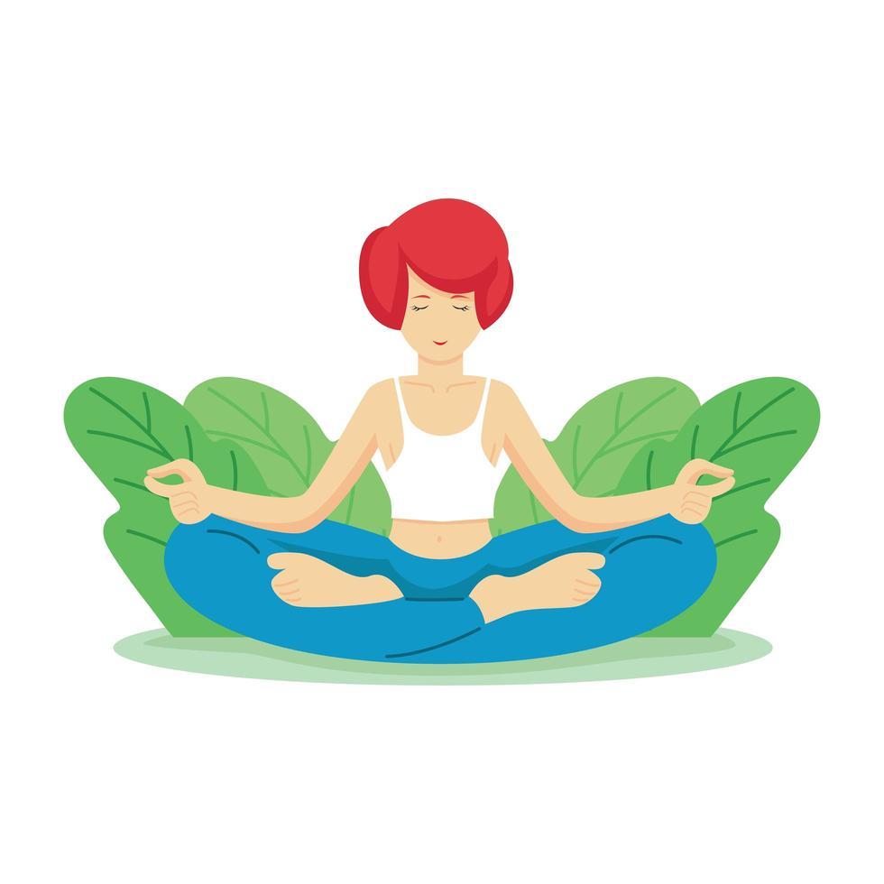 feliz día mundial de la salud con una mujer haciendo yoga vector