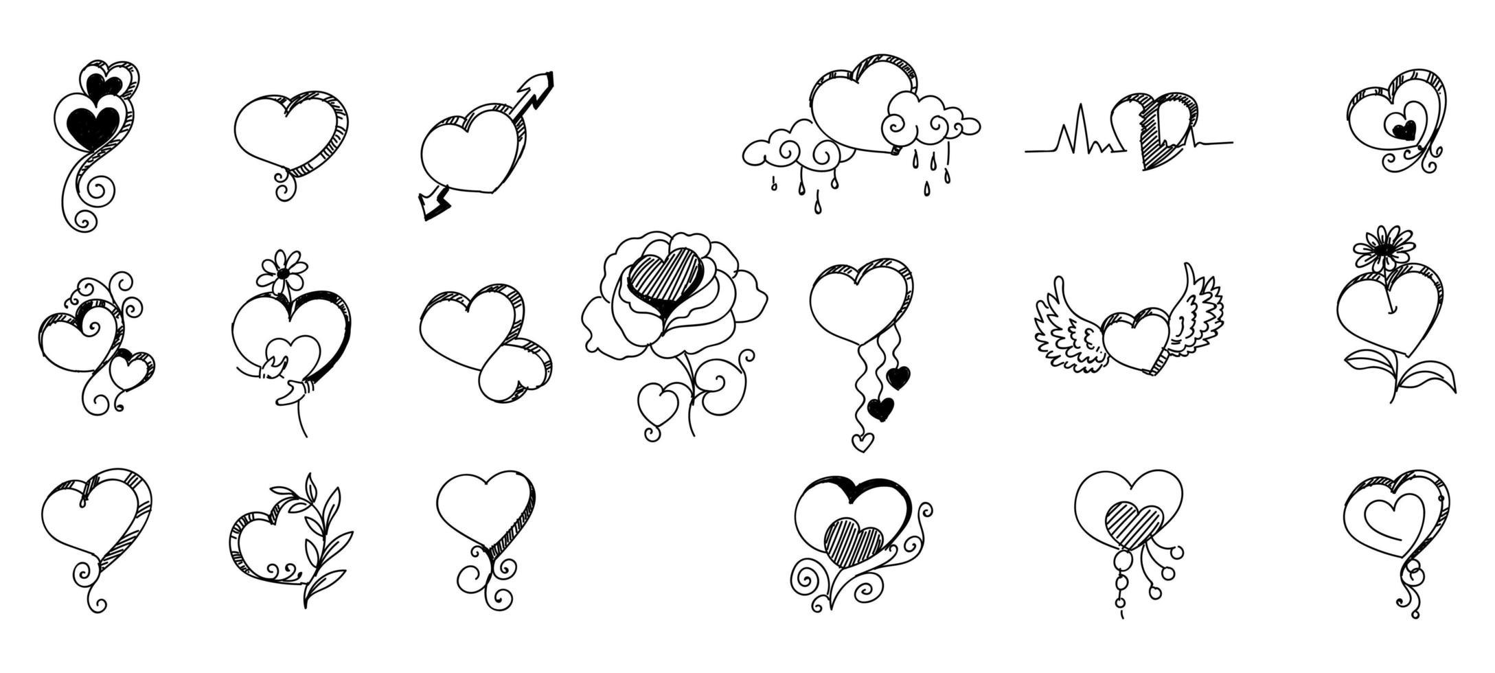 mano, creativo, negro, bosquejo, corazones vector