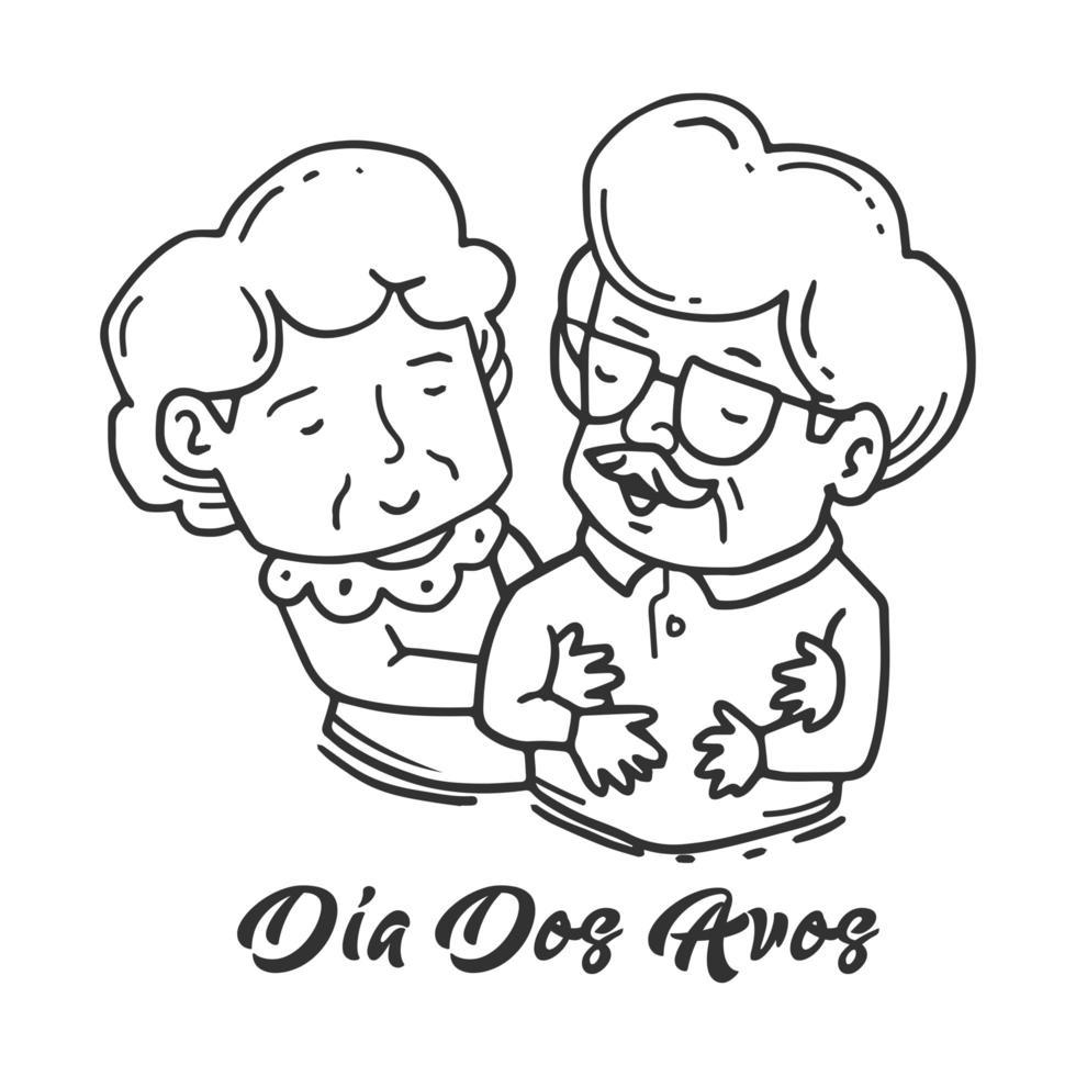 dia dos avos esposa sosteniendo marido diseño vector