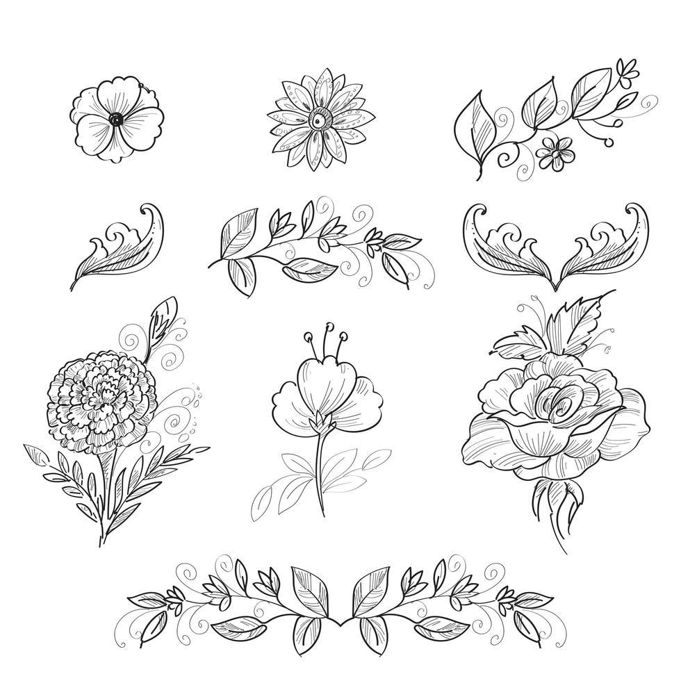 dibujado a mano dibujo lápiz flores vector