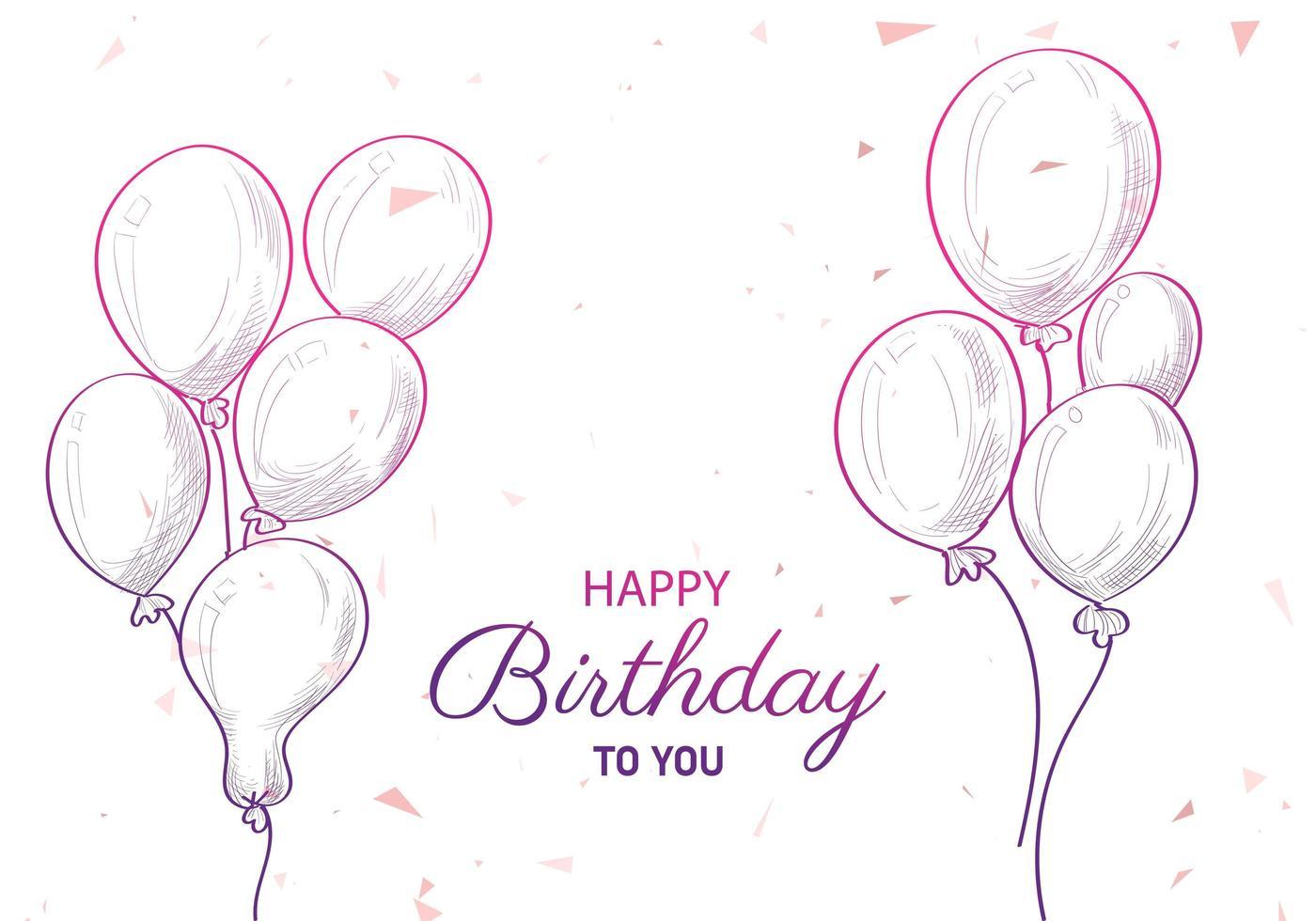 ramos de globos de cumpleaños dibujados a mano y texto vector