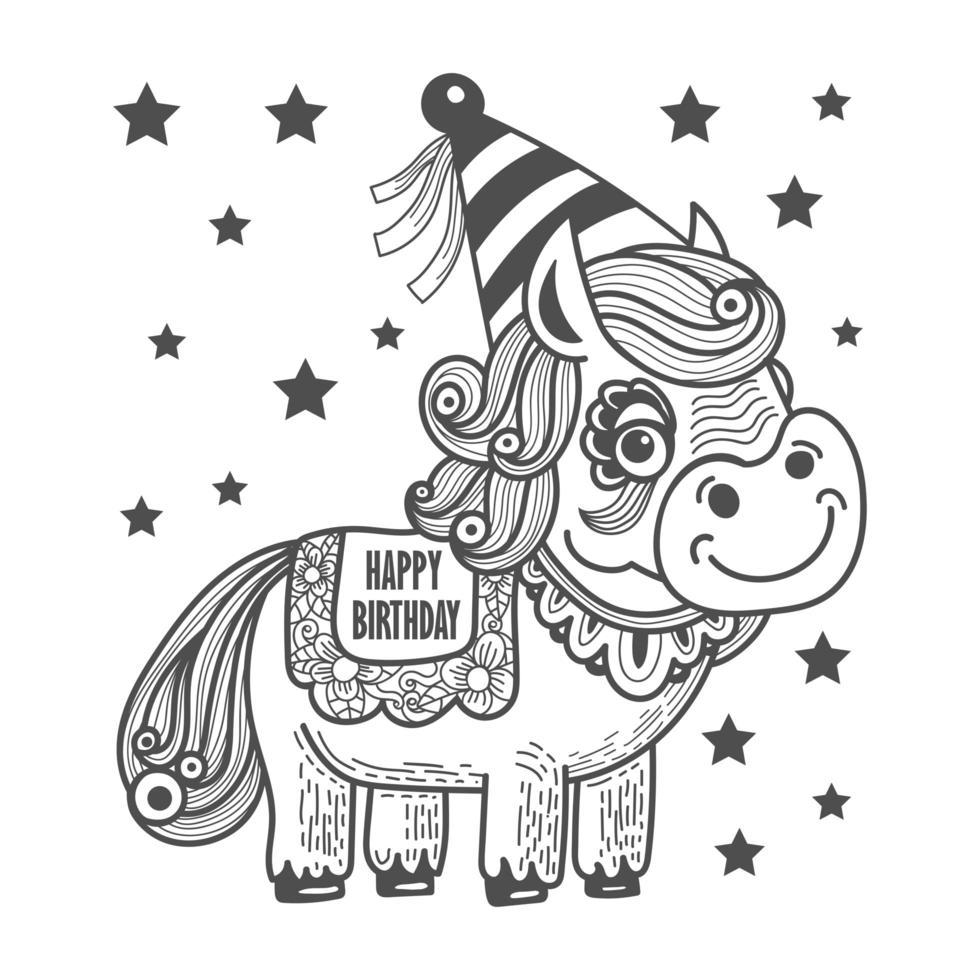 precioso unicornio con gorro de fiesta vector