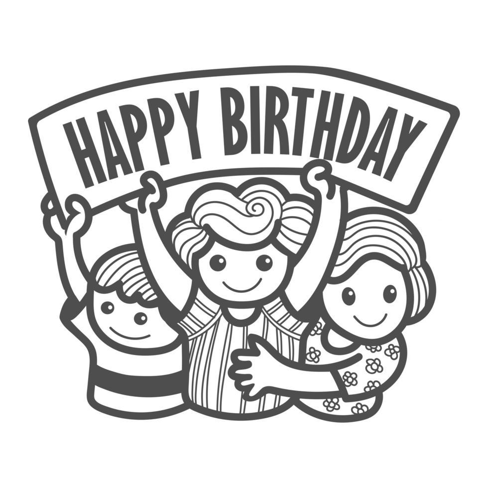 niños pequeños con cartel de feliz cumpleaños vector