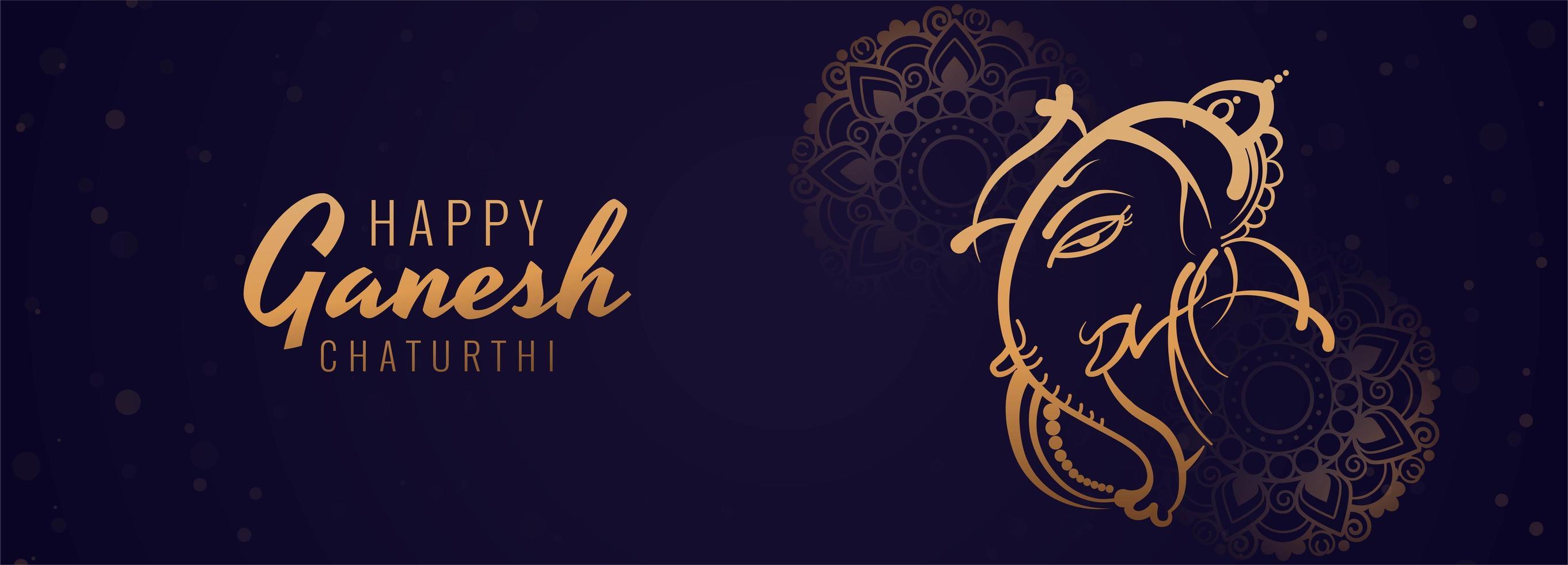 feliz festival de ganesh chaturthi banner azul horizontal vector