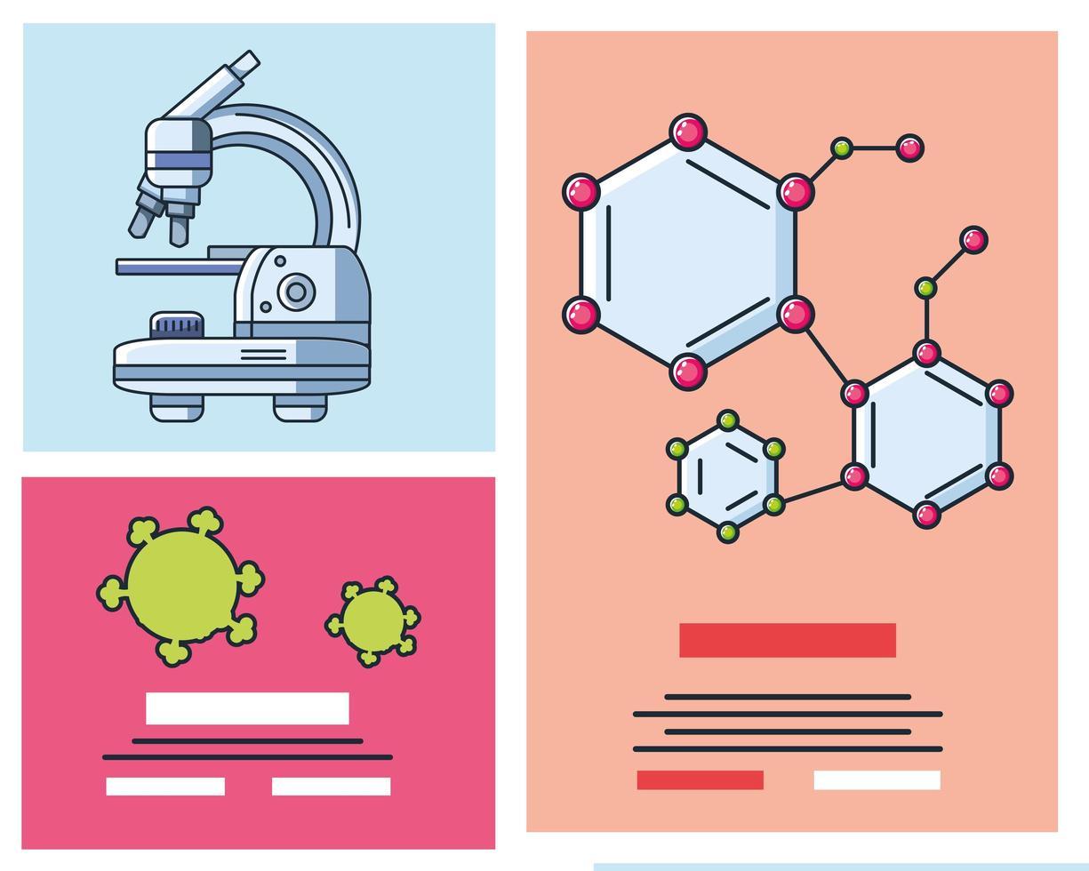infografía con iconos de microscopio de laboratorio vector