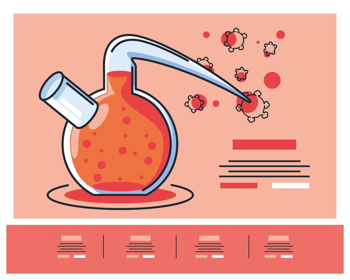 infografía con tubo de laboratorio químico e investigación de coronavirus. vector
