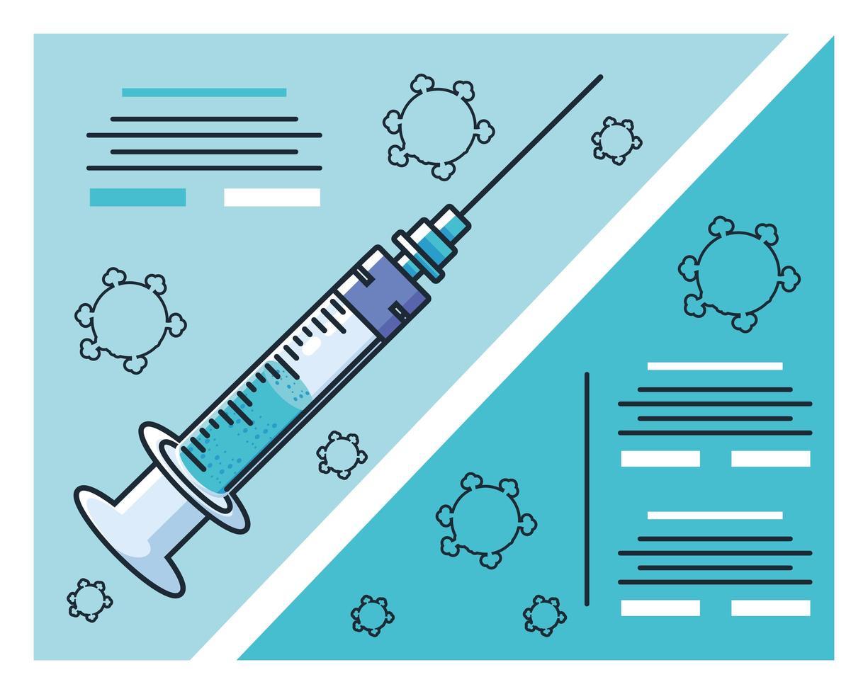 infografía con jeringa médica e investigación covid 19 vector