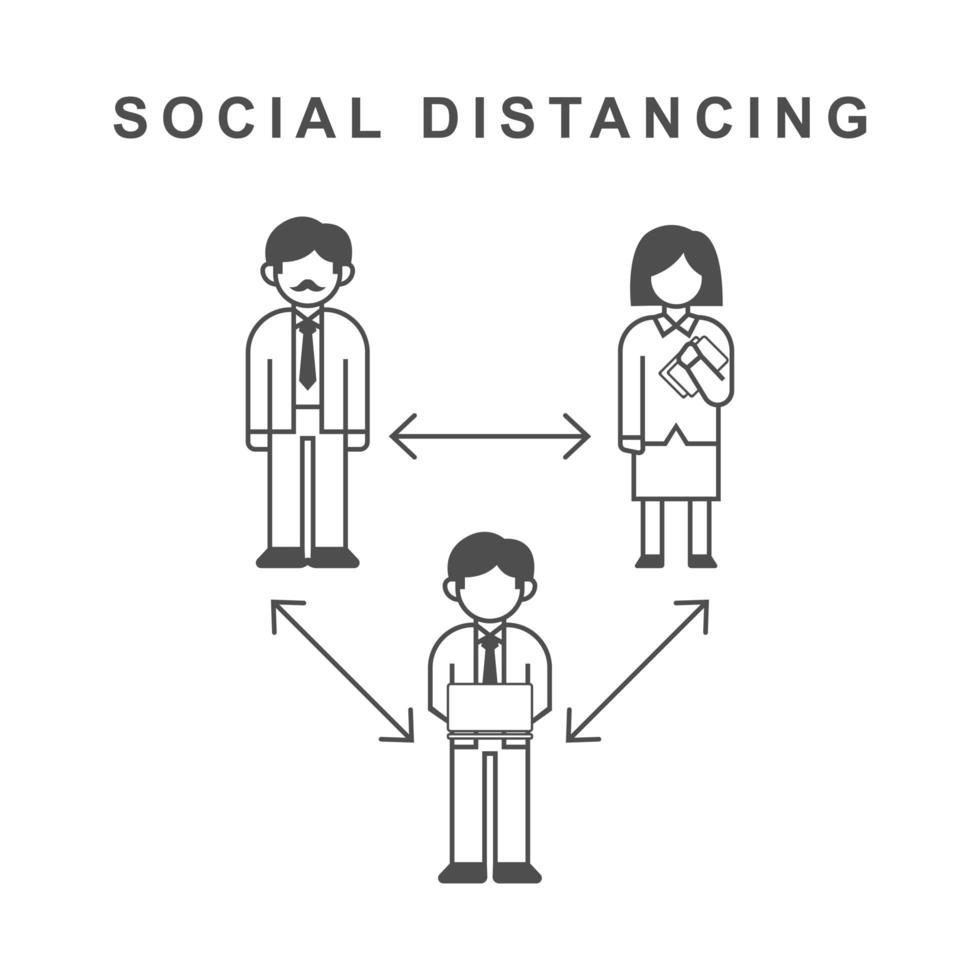 pôster de ícones de distanciamento social vetor