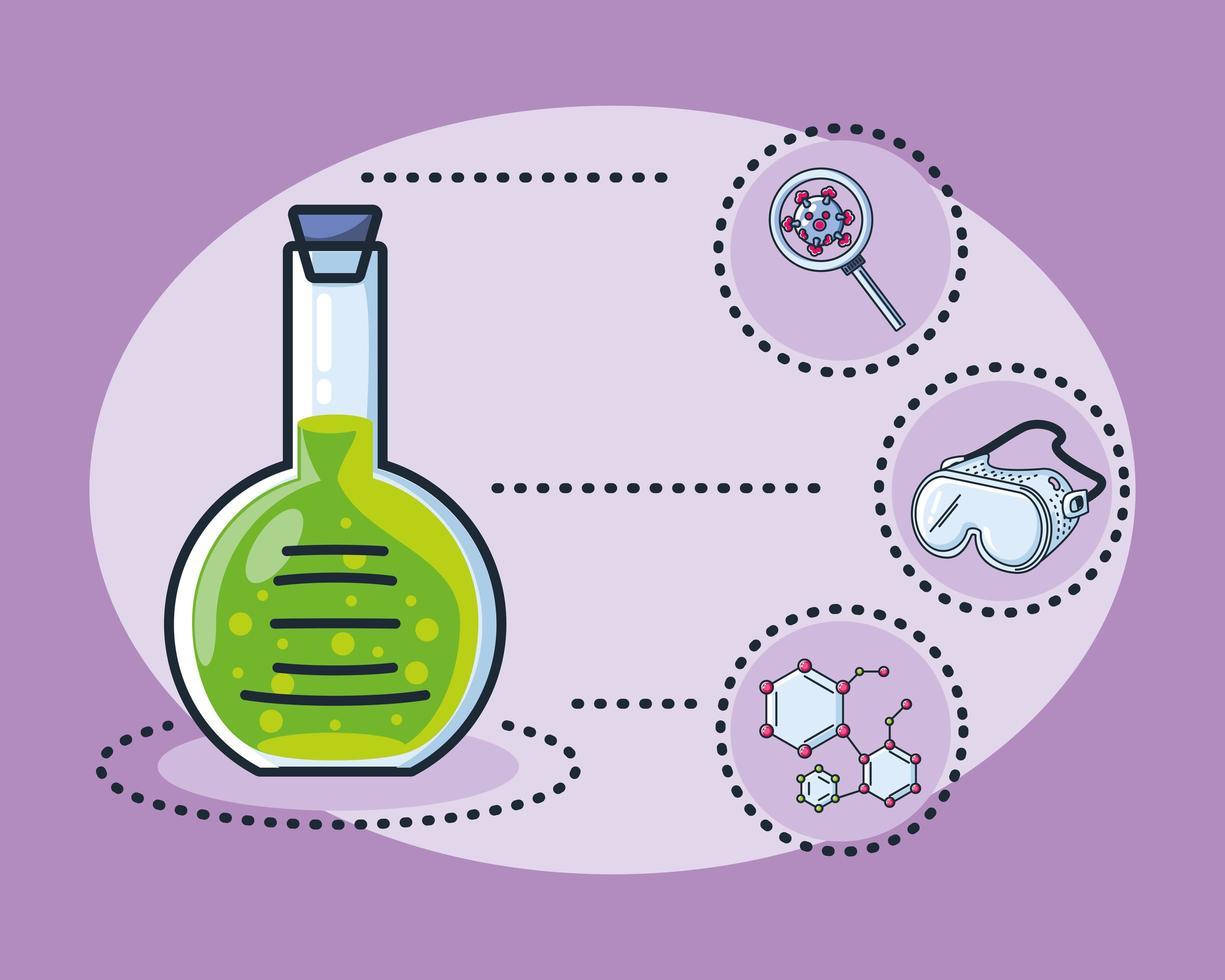 infografía con tubo de ensayo de laboratorio químico e iconos vector
